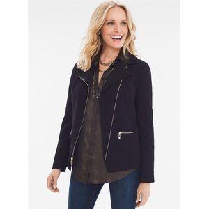 NEW $129 Chico's Black Textured Moro Jacket XLP
